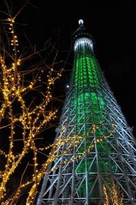 2013年末の東京スカイツリーのクリスマスライトアップ